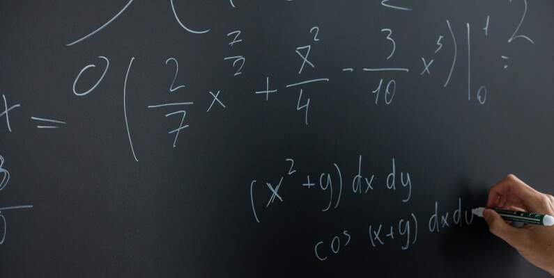Black Board with Maths Formulas